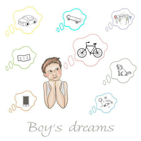 Set of boys dreams about car, dollar, dog, bicycle, candy, skateboard, phone and party  in vector Illustration