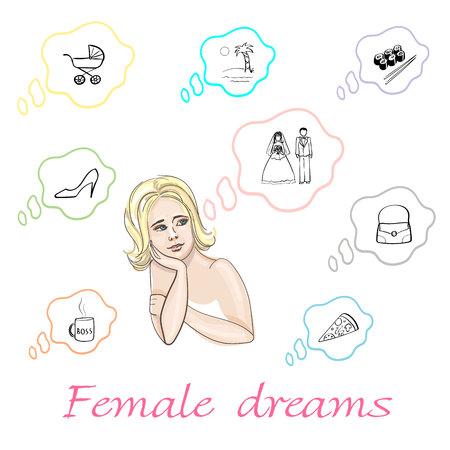 Conjunto de sueños femeninos sobre niño, relajación, sushi, boda, zapatos, bolso, pizza y mejora en vector Foto de archivo - 88142881
