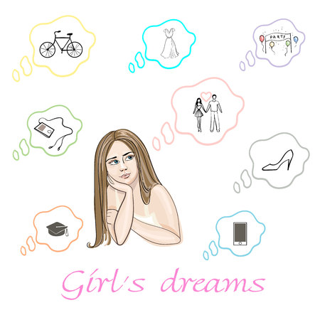 Set of girls dreams about  shoes, player, phone, dress, bicycle, abrosion, relationship and party  in vector