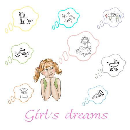 Set van meisje dromen over hond, pop, fiets, snoep, kleding, speelgoed, pizza en feest in vector Stock Illustratie