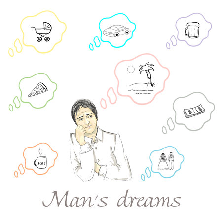 Set of mans dreams about car, money, children, vacation, beer, pizza, promotion and wedding in vector