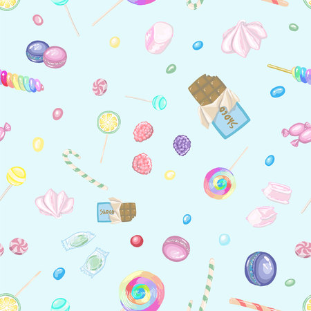 Pattern with candies, chocolate and  lollipops in vector Illustration