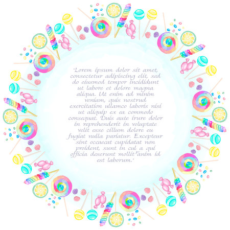Round frame of candies and lollipops in vector