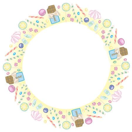 キャンディー、チョコレート、ベクトルでロリポップのラウンド フレーム