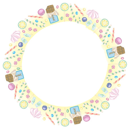 Round frame of candies, chocolate and lollipops in vector Illustration