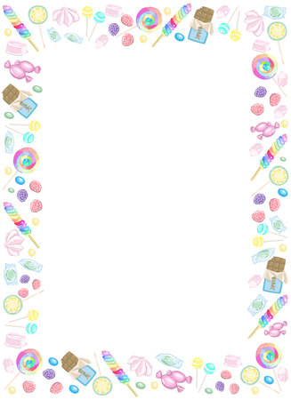 Frame of candies, chocolate and lollipops in vector Illustration