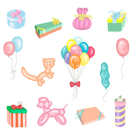 Set of presents and balloons in vector