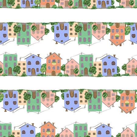 Patrón con casas de pueblo y pueblo en vector Foto de archivo - 88142894