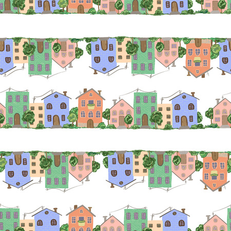 Pattern with town and village houses in vector