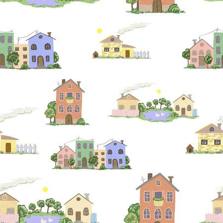 Motif de fond transparente avec les maisons de ville et village en vecteur Banque d'images - 88142895