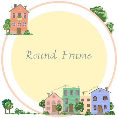 Cadre rond des maisons de ville et village en vecteur Banque d'images - 88142896