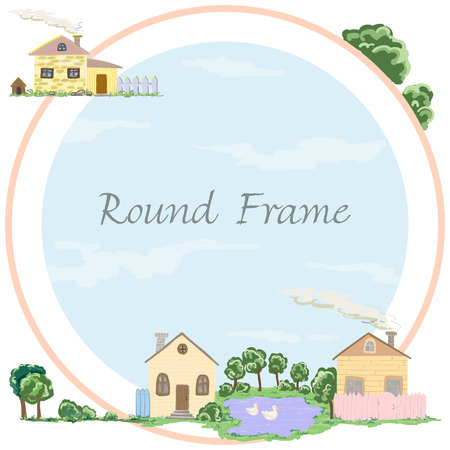 Round frame of village houses in vector