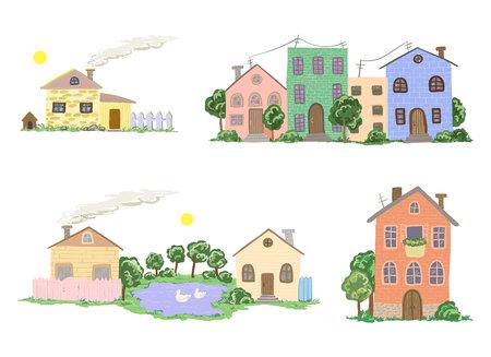 Conjunto de casas de pueblo y pueblo en vector Foto de archivo - 88142898