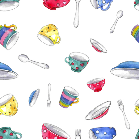 Watercolor seamless background pattern with mugs, plates, spoons and forks