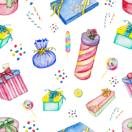Watercolor seamless background pattern with presents and candies