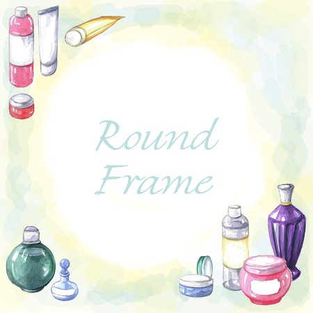 Waterverf om kader van schoonheidsmiddelen en parfumsflessen. Aquarel handgeschilderde illustratie Stockfoto