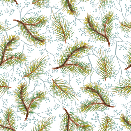 Pastel seamless background pattern with spruce branches and flowers