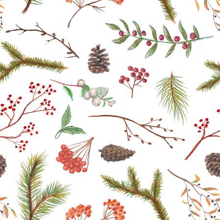 Nahtloses Hintergrundpastellmuster mit Fichtenzweigen, Kegeln, Zweigen und Beeren Standard-Bild - 90237225