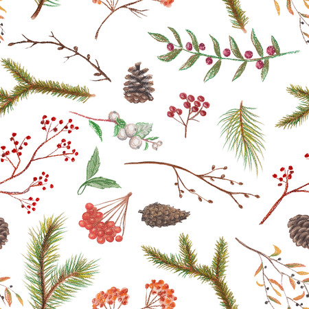 Pastel seamless background pattern with spruce branches, cones, twigs and berries