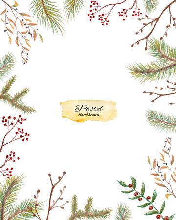 직사각형 크리스마스 프레임 딸기와 가문비 나무 분기합니다. 파스텔 손으로 그려진 그림