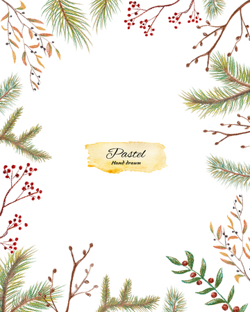 Rectangle christmas frame with a berries and spruce branches. Pastel hand drawn illustration