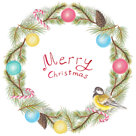 Round christmas wreath with a bird, balls, cones and firs. Pastel hand drawn illustration