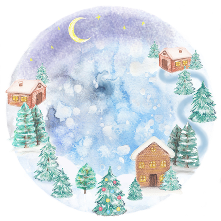Winter landscape with a houses and firs, watercolor and pastel painting. Round frame Stock Photo