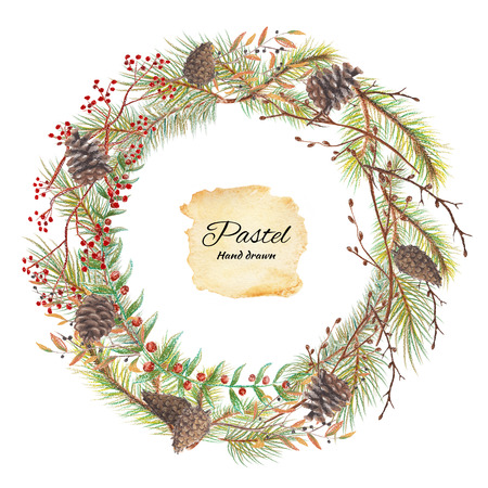 Round christmas wreath with a cones, berries and spruce branches. Pastel hand drawn illustration Stok Fotoğraf