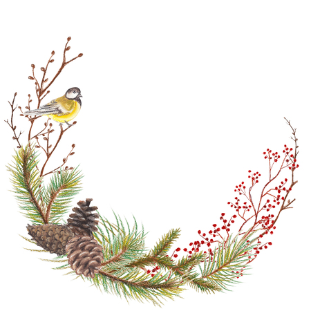 Halbkreisweihnachtsrahmen mit Vögeln, Zweigen, Kegeln und Tannen. Pastell handgezeichnete Abbildung Standard-Bild - 90450857