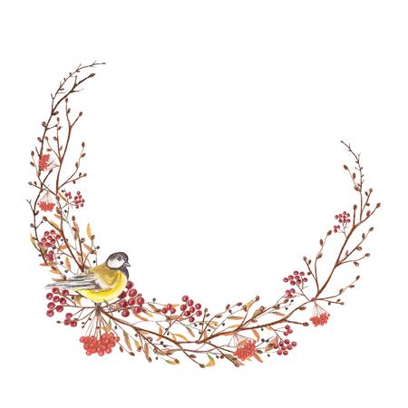 반원 크리스마스 프레임 조류, 열매 및 나뭇 가지. 파스텔 손으로 그려진 그림