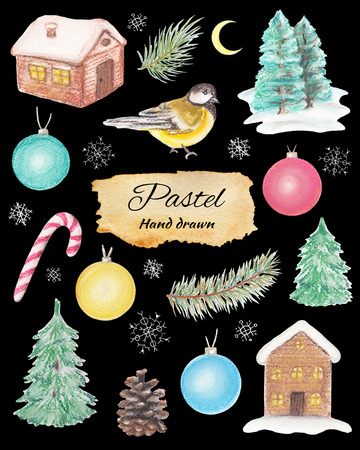 Christmas set with houses, fir-tree, balls, titmouse, snowflakes, spruce branches, moon and cone. Pastel hand drawn illustration
