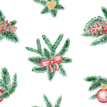 Watercolor seamless background pattern with spruce branches, bow, ball, heart and berries Stock Photo