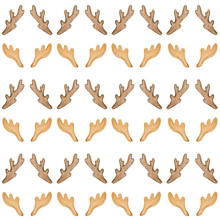 Seamless background pattern with horns of  deer and moose. Watercolor hand drawn illustration