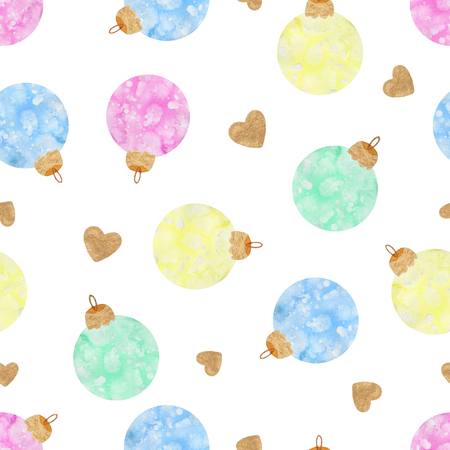 Seamless background pattern with Christmas balls. Watercolor hand drawn illustration Stock Photo