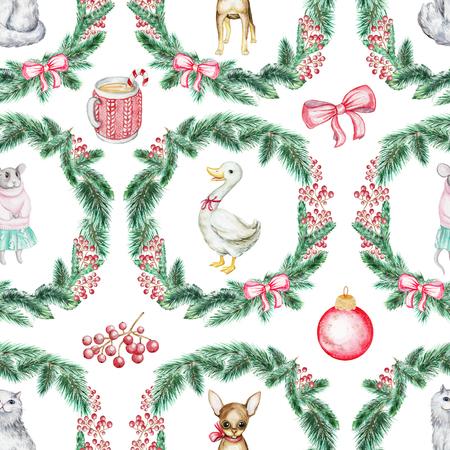 猫、パピー、ガチョウとマウスとクリスマスシームレスな背景パターン。水彩画描き下ろしイラスト