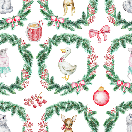 Christmas seamless background pattern with cat, pappy, goose and mouse. Watercolor hand drawn illustration Standard-Bild