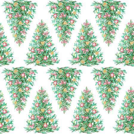 Seamless background pattern with Christmas tree. Watercolor hand drawn illustration
