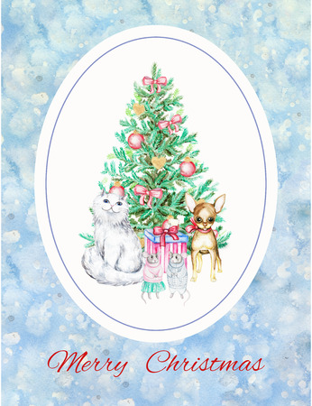 Cartoon cat, pappy, mice and Christmas tree. Watercolor Christmas illustration