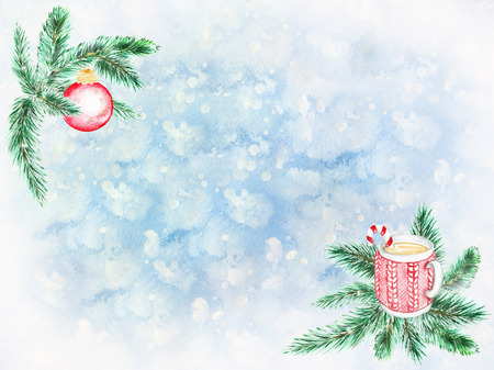 Watercolor fir branches with ball and mag. Hand painted holiday card with red glass ball and mag on fir branches  on blue background. Winter greeting design. Artistic illustration