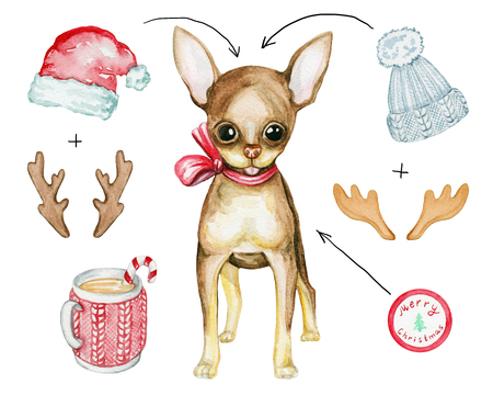 Watercolor illustration with a Christmas puppy, hats, horns and hot drink. Sketch, drawing by hand. Stock Photo