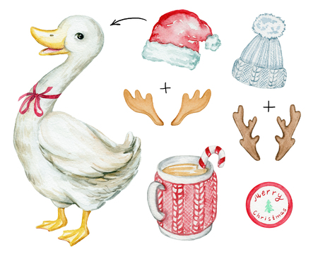 Watercolor illustration with a Christmas goose, hats, horns and hot drink. Sketch, drawing by hand. Stock Photo