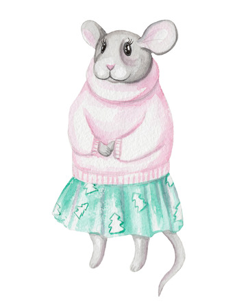 Mouse in clothes. Cute animal like humans. Watercolor illustration.