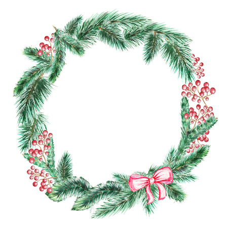 Round christmas wreath with a berries and spruce branches. Watercolor hand drawing illustration