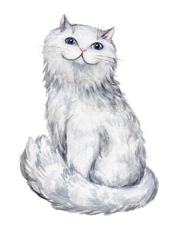 Watercolor illustration with a cute cat. Sketch, drawing by hand. Imagens
