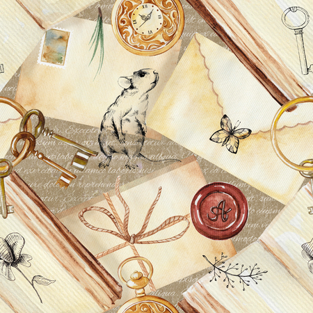Seamless background pattern with letters, stamps, clock, mouse, twigs, books, butterfly, keys and flowers. Watercolor hand drawn illustration
