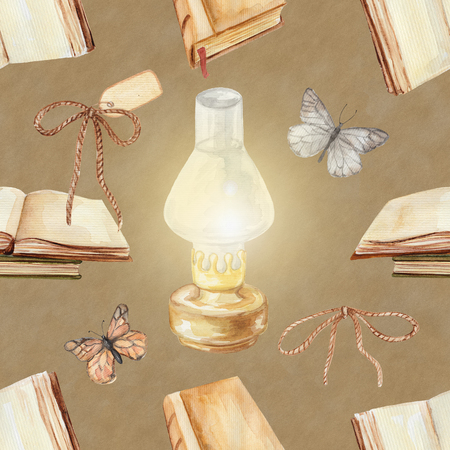 Seamless background pattern with kerosene lamp, butterflies and books. Watercolor hand drawn illustration