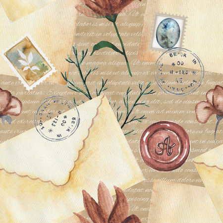 Seamless background pattern with letters, stamps and flowers. Watercolor hand drawn illustration