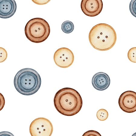 Seamless background pattern with buttons.Watercolor hand drawn illustration