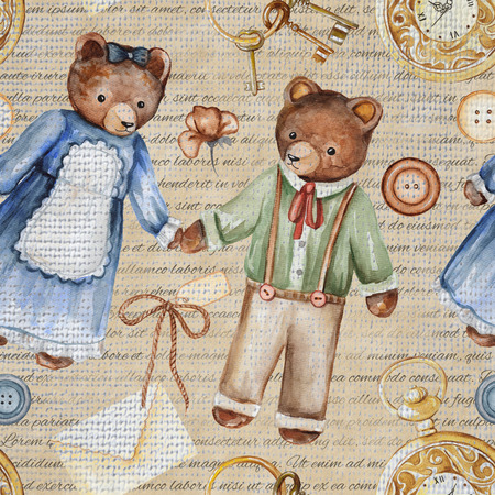 Seamless background pattern with bears, clock, buttons, keys, flower and letters. Watercolor hand drawn illustration Stock Photo