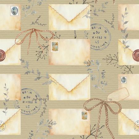 문자, 우표와 나뭇 가지 원활한 배경 무늬. 수채화 손으로 그린 그림 스톡 콘텐츠